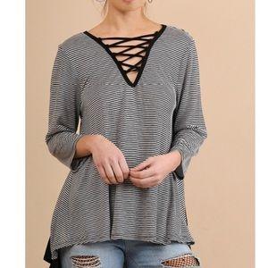 Tops - Black Striped Crisscross V-Neck Hi Low Top S/M/L